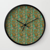 mid century Wall Clocks featuring Mid century ochre by KITTY COLES