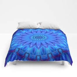 Mandala Blue Waterflower Comforters
