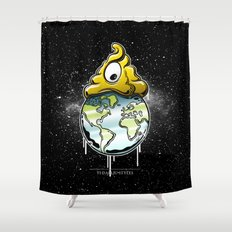 shit rules the world Shower Curtain