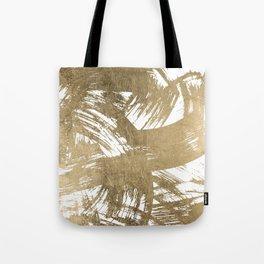 Elegant chic faux gold foil brushstrokes pattern Tote Bag