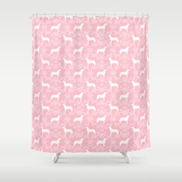 Husky floral dog pattern simple minimal basic dog silhouette huskies dog breed pink and white Shower Curtain