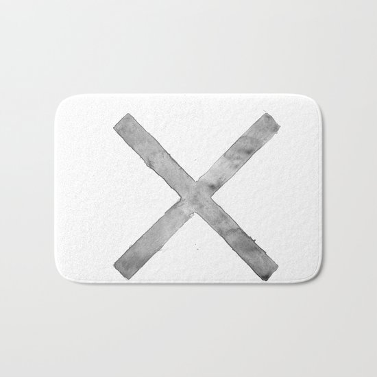 BLACK AND WHITE CROSS Bath Mat