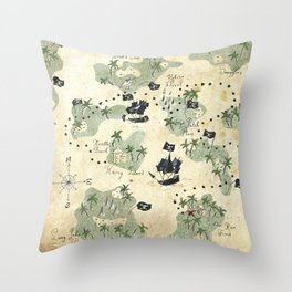 Hand Drawn Pirate Map Throw Pillow