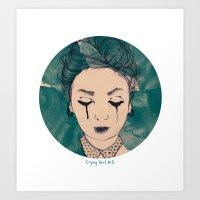Crying girl №3 Art Print