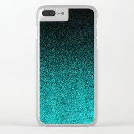 Aqua & Black Glitter Gradient Clear iPhone Case