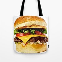 burger Tote Bags featuring Burger by Owl Things