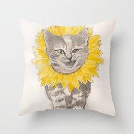 Sunflower Kitty Throw Pillow