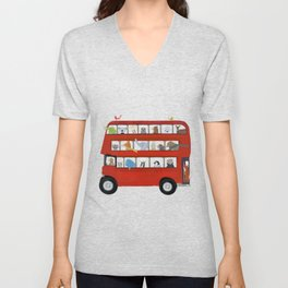 the big little red bus Unisex V-Neck