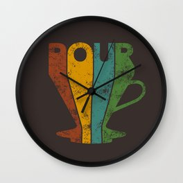 Pour Over Coffee Lover // Abstract Typography Wall Artwork Graphic Design Kettle Wall Clock