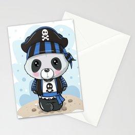 Cute Cartoon Panda in a Pirate Hat Stationery Cards