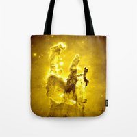 nebula Tote Bags featuring Yellow neBUla  by 2sweet4words Designs