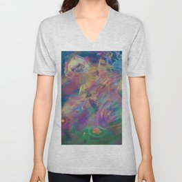 WHEN YOU LOSE THE QUIETGAME, a colorful collidescope art piece about a step off the end of space Unisex V-Neck