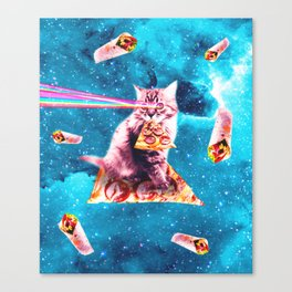 Space Cat Eating Pizza - Rainbow Laser Eyes, Burrito Canvas Print
