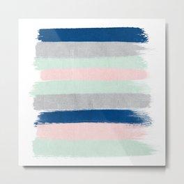 Minimal painted stripe pattern nursery decor trendy gender neutral colors Metal Print