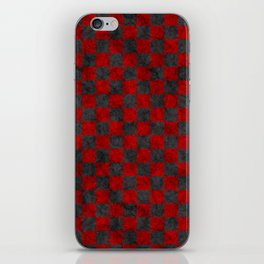 Retro Check Grunge Material Red Black iPhone Skin