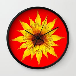 Decorative Yellow Sunflower On Chinese red Art Wall Clock