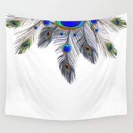 BLUE PEACOCK FEATHER & JEWELS Wall Tapestry