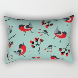 Bird Seamless Pattern. Bullfinch birds Rectangular Pillow