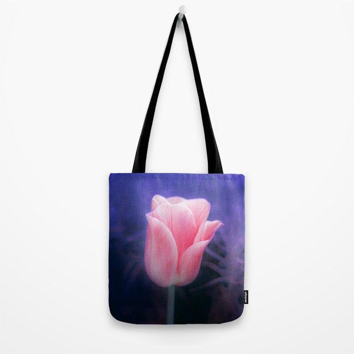 Pink Tulip in indigo Tote Bag