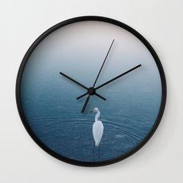 A bird Fishing at Sunset 2 Wall Clock