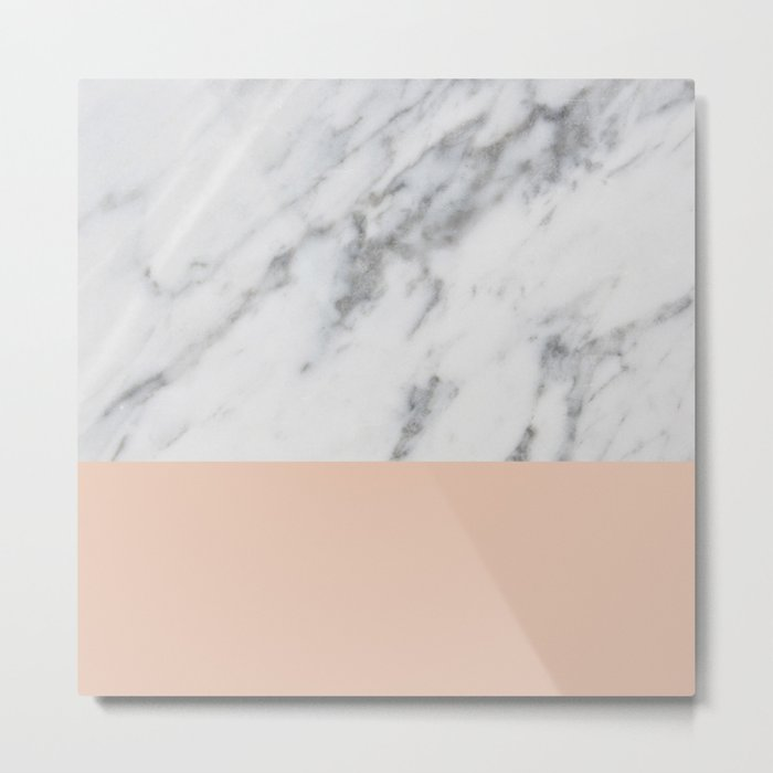 Marble and Blush Pink Metal Print
