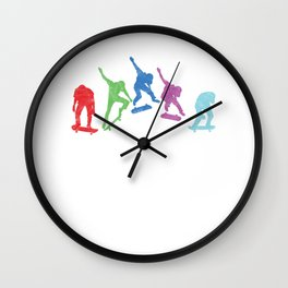 Colorful Skaters Skateboard Skateboarding Gift Wall Clock
