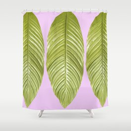 Three large green leaves on a pink background - vivid colors Shower Curtain