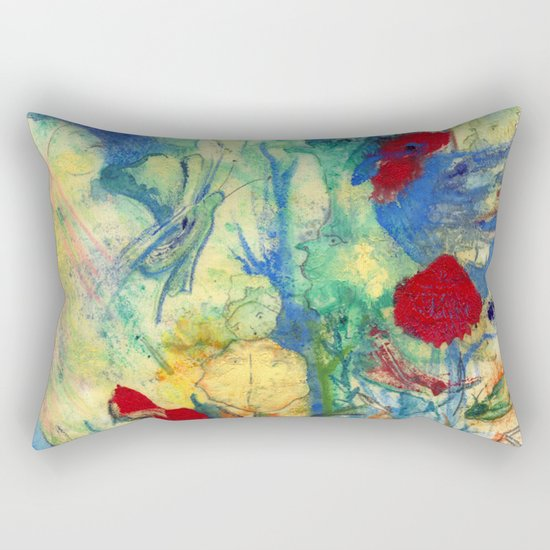 Fairy with Red Flowers Rectangular Pillow