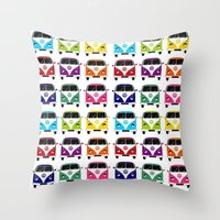 vw Throw Pillows featuring VW Campervan by chauloom