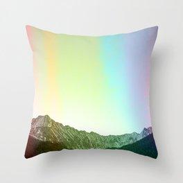 Rainbow Ridge Snow Capped Mountain Range \\ Colorado Landscape Photography \\ B&W Ski Season Art Throw Pillow