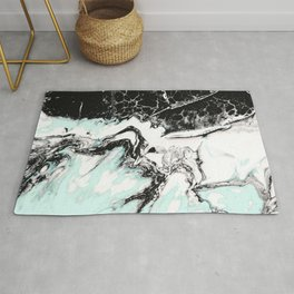 mint black and white marble Rug