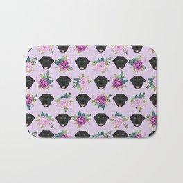 Black lab florals labrador retriever dog breed pet friendly pattern flowers bouquet Bath Mat