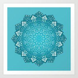 Cyan blue winter mandala Art Print