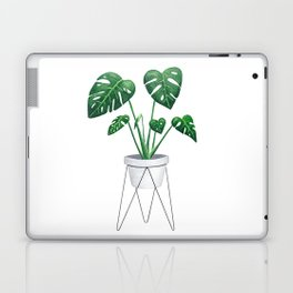 Monstera in designer plant stand with green leaves and foliage Laptop & iPad Skin