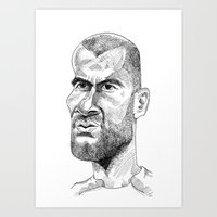 zidane Art Prints featuring Zidane by Garabatostudios