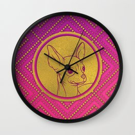 Golden Embossed Chihuahua on pink /purple Wall Clock