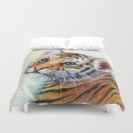 Tiger Cub Watercolor Duvet Cover