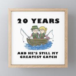 Anniversary 20 Couple Fishing Wife Husband Gift Framed Mini Art Print