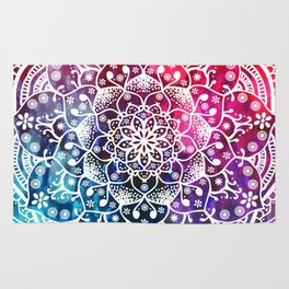 Namaste Red Purple Blue Mandala Rug