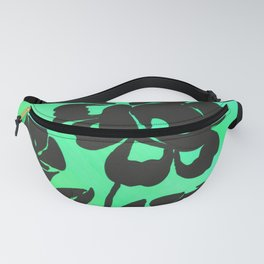 Green Silhouette Roses Varigated Background Acrylic Art Fanny Pack