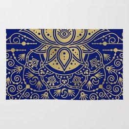 Sacred Lotus Mandala – Navy & Gold Palette Rug