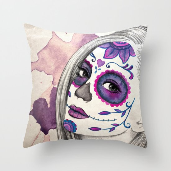 Sugar Skull Girl Throw Pillow