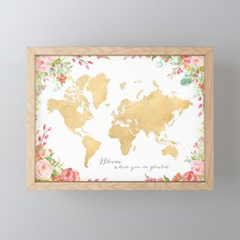 Bloom where you are planted, gold floral world map Framed Mini Art Print