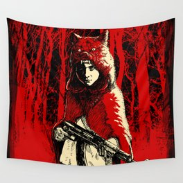 Here Comes the Red One Wall Tapestry