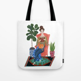 Cat lady reading Tote Bag