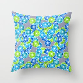 Art Deco Stylized Flower Pattern Blue and Lime Green Throw Pillow