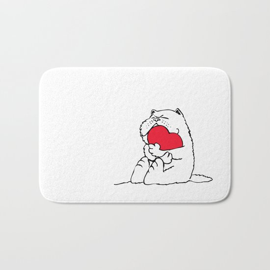 Persian Cat Heart Bath Mat
