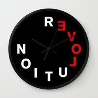 revolution Wall Clocks featuring REVOLUTION! by THE USUAL DESIGNERS