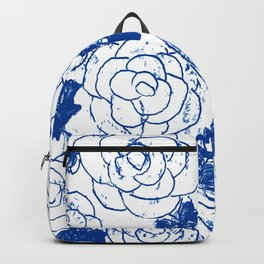 Blue blockprint roses Backpack