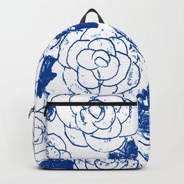 Blue blockprint roses Backpack